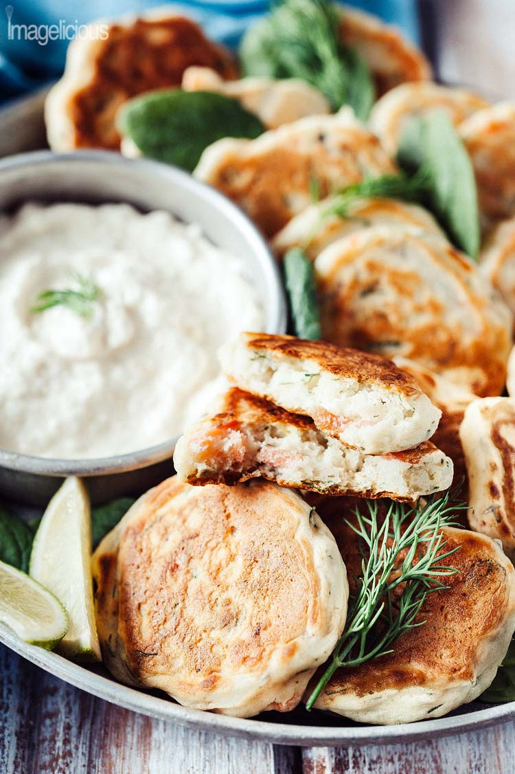 These Smoked Salmon and Dill Mini Pancakes with Horseradish Dip are a perfect appetizer to serve with a glass of sparkling wine and an excellent addition to any brunch   Imagelicious