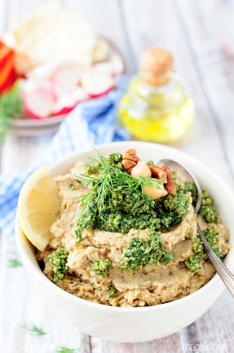 Vegan Chickpea and Eggplant Dip with Dill Pesto is full of bright and bold flavours, yet easy to make and very healthy. It's vegan and gluten-free and will satisfy even the pickiest eaters. Perfect appetizer or snack | Imagelicious